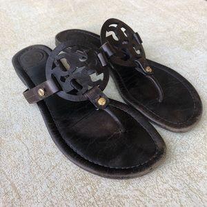 Tory Burch Miller Sandals Dark Brown 8.5 Logo